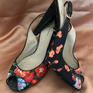 Paolo black and floral sandal heels